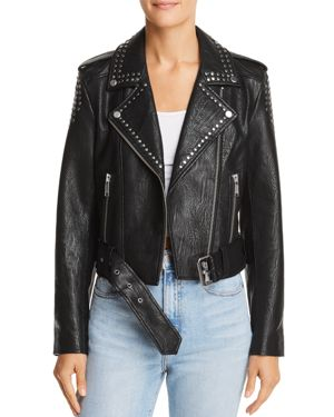 PISTOLA Tracy Studded Cropped Faux Leather Moto Jacket in Basquiat Black
