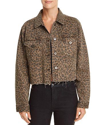 Pistola - Naya Leopard Print Cropped Denim Jacket