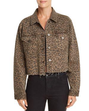 PISTOLA Naya Leopard Print Cropped Denim Jacket in Wilder