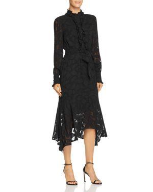 Palo Floral-Burnout Velvet Long-Sleeve Dress, True Black