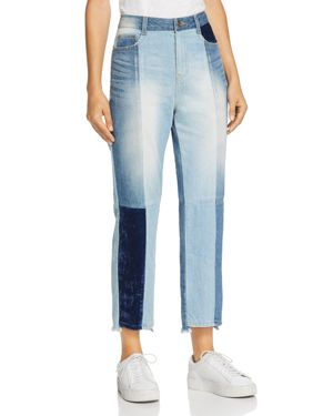 Cropped Velvet-Paneled High-Rise Slim-Leg Jeans in Blue