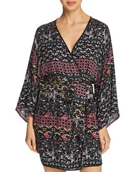 Josie - Printed Twill Short Wrap Robe