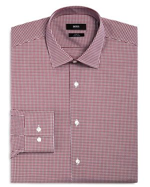 BOSS GINGHAM SLIM FIT DRESS SHIRT