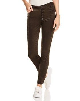 PAIGE - Hoxton Ankle Skinny Corduroy Velvet Jeans in Midnight Forest - 100% Exclusive