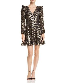 AQUA - Ruched-Sleeve Metallic Dress - 100% Exclusive