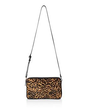 Whistles Cornelia Leopard Print Triple Zip Leather Crossbody