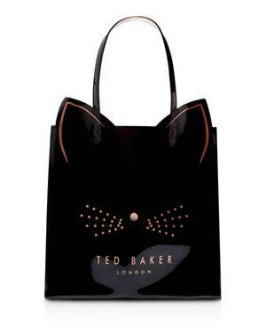 Felicon Cat Large Icon Tote, Black/Rose Gold