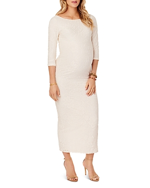 Ingrid & Isabel Maternity Lace Boatneck Maxi Dress