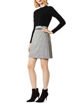KAREN MILLEN - Glen Plaid A-Line Skirt