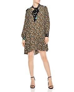 Sandro - Unite Floral-Print Tie-Neck Dress