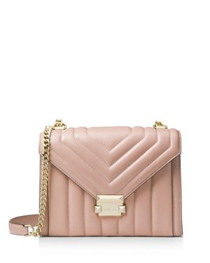 Whitney Large Quilted Leather Shoulder Bag, Fawn Pink/Gold