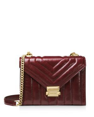 Large Quilted Leather Shoulder Bag - Burgundy, Oxblood/Gold