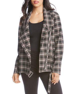 Karen Kane Plaid Moto Jacket - 100% Exclusive