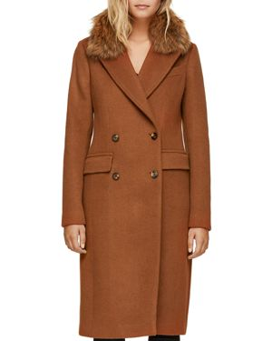 SOIA & KYO Fur Collar Double-Breasted Button Front Coat in Autumn