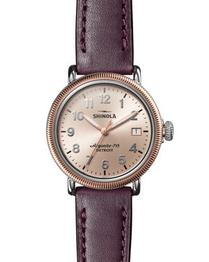 SHINOLA 'The Runwell' Leather Strap Watch, 38Mm in Aubergine/ Rose Gold