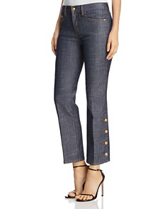 Tory Burch - Alexandra Button-Hem Ankle Jeans in Resin Rinse