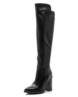 Women'S Shania Studded Leather Tall High-Heel Boots, Black Leather