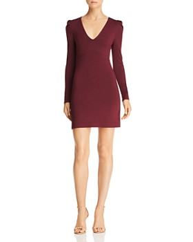 Olivaceous - Long-Sleeve V-Neck Bodycon Dress