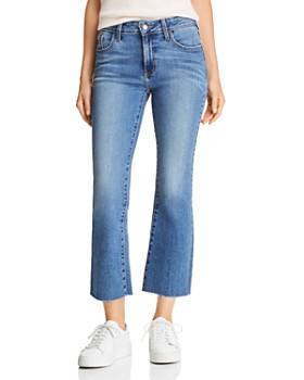 Just Black Denim - Scissor High-Rise Cropped Flared Jeans in Medium Blue