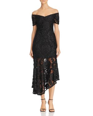 ALICE MCCALL Embroidered Off-The-Shoulder Lace Dress in Black