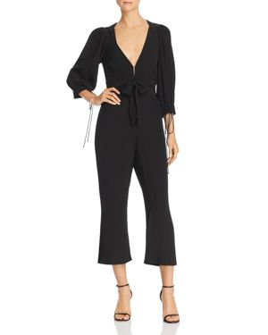 For Love Lemons Georgi Cropped Cutout Jumpsuit In Noir Modesens