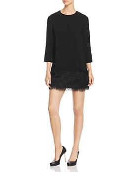 PAULE KA - Faux-Feather Detail Mini Dress