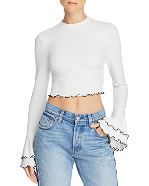 Lost and Wander Austin Bell-Sleeve Cropped Top