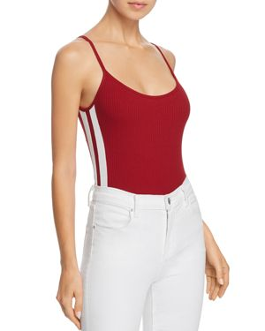 HONEY PUNCH Track Stripe Rib-Knit Bodysuit in Red