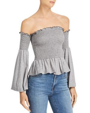 VINTAGE HAVANA Smocked Off-The-Shoulder Top in Heather Gray