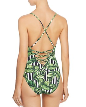 Red Carter - Havana Leaf Lace-Up One Piece Swimsuit