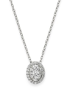 Bloomingdale's - Diamond Oval Halo Pendant Necklace in 14K White Gold, 0.3 ct. t.w. - 100% Exclusive