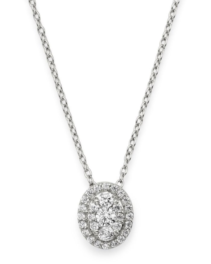 Bloomingdale's Diamond Oval Halo Pendant Necklace in 14K White Gold, 0.3 ct. t.w. - 100% Exclusive    Bloomingdale's