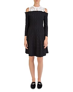 The Kooples - Cold-Shoulder Knit-and-Lace Dress