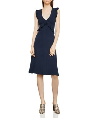 BCBGMAXAZRIA Sleeveless Dress With Ruffle Trims, Dark Navy