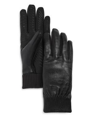 U/R Elasticized Faux Fur-Lined Tech Gloves in Black