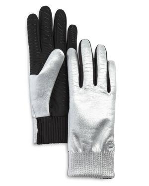 U/R Elasticized Faux Fur-Lined Tech Gloves in Silver