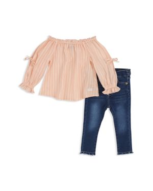 7 For All Mankind Girls' Striped Off-the-Shoulder Top & Frayed Jeans Set - Baby 2998559