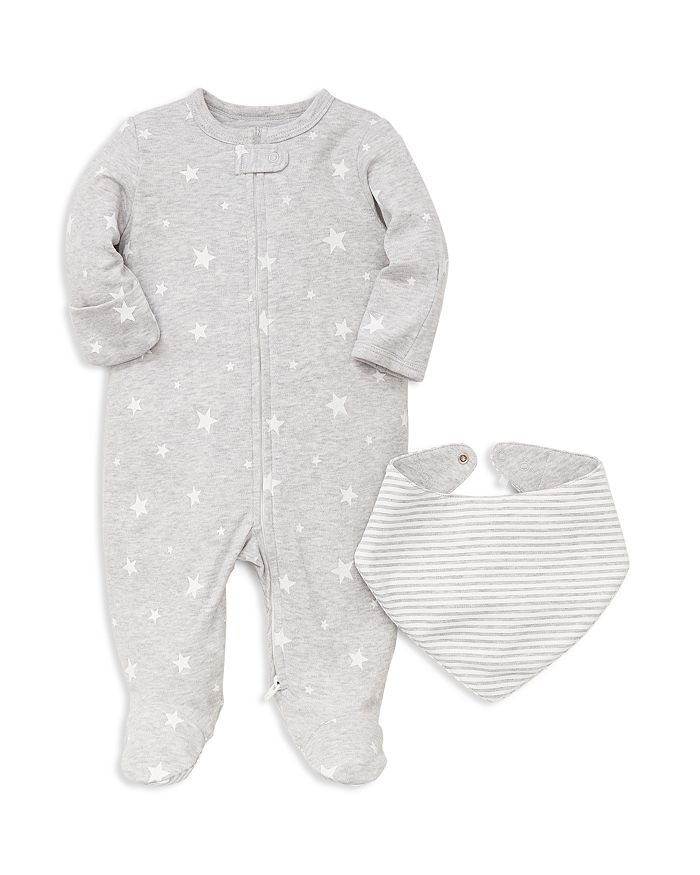 Little Me - Unisex Star-Print Footie & Striped Bib Set - Baby