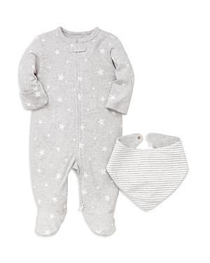Little Me Unisex StarPrint Footie  Striped Bib Set  Baby