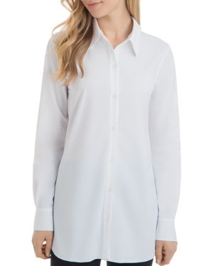 LYSSÉ Reese Pleat-Back Tunic Top in White