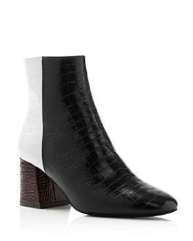 Freda Salvador - Women's Charm Square Toe Croc-Embossed Patent Leather Booties