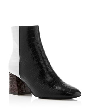 Freda Salvador Women's Charm Square Toe Croc-Embossed Patent Leather Booties