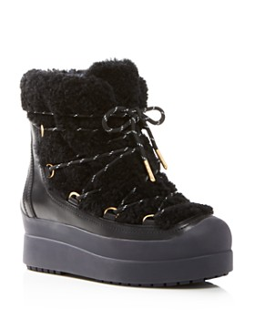 Tory Burch - Women's Courtney Round Toe Leather & Shearling Booties