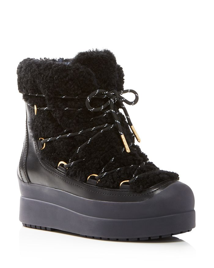 50cc51972 Tory Burch Women s Courtney Round Toe Leather   Shearling Booties ...