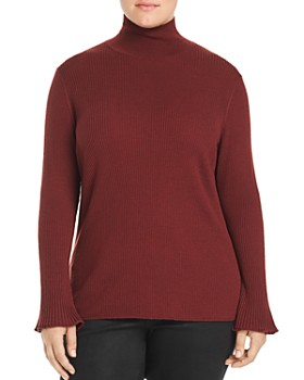 Lafayette 148 New York Plus - Ribbed Mock Neck Sweater