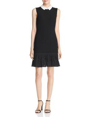Lace Flounce-Hem Collared Shift Dress in Black