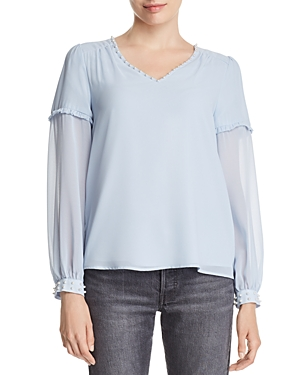 Karl Lagerfeld Faux Pearl-Accented Top