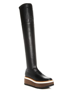 Clergerie - Women's Basilia Leather Over-the-Knee Wedge Platform Boots