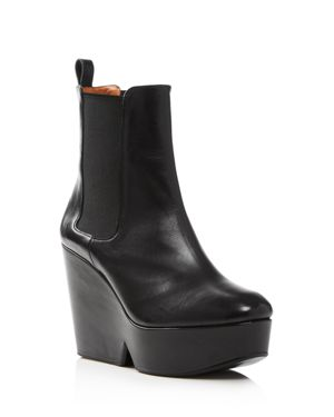 CLERGERIE WOMEN'S BEATRICE LEATHER PLATFORM WEDGE BOOTIES