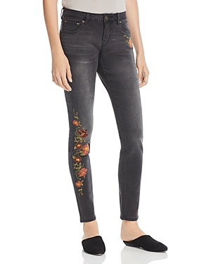 Jag Jeans Sheridan Skinny Embroidered Jeans in Coalwash